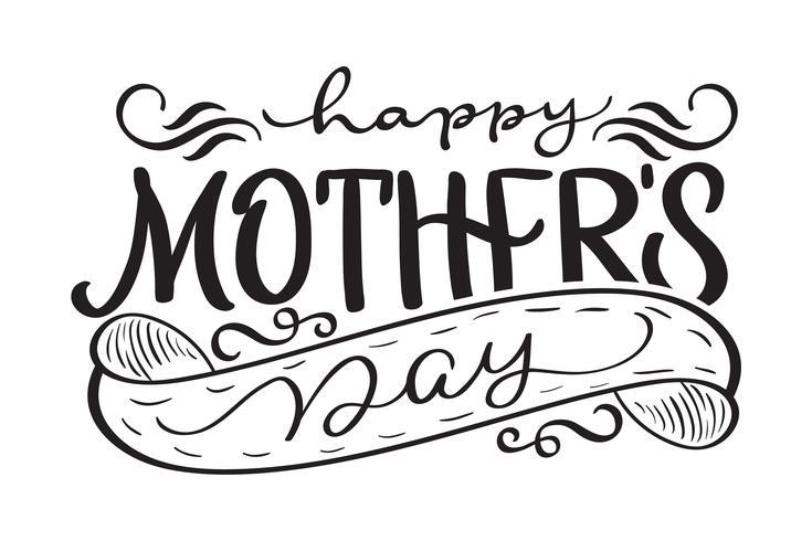 Testo moderno di vettore nero di Happy Mothers Day. Illustrazione EPS10 dell'iscrizione di calligrafia