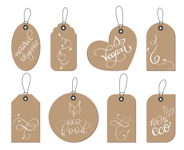 collection set of kraft paper healthy vegan, organic food tags label. Calligraphy lettering hand made text. Vector illustration EPS10