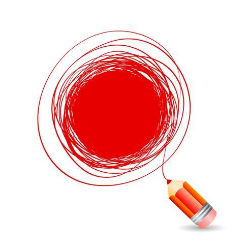 Dibujado a mano burbuja para texto, dibuja un lápiz rojo. vector