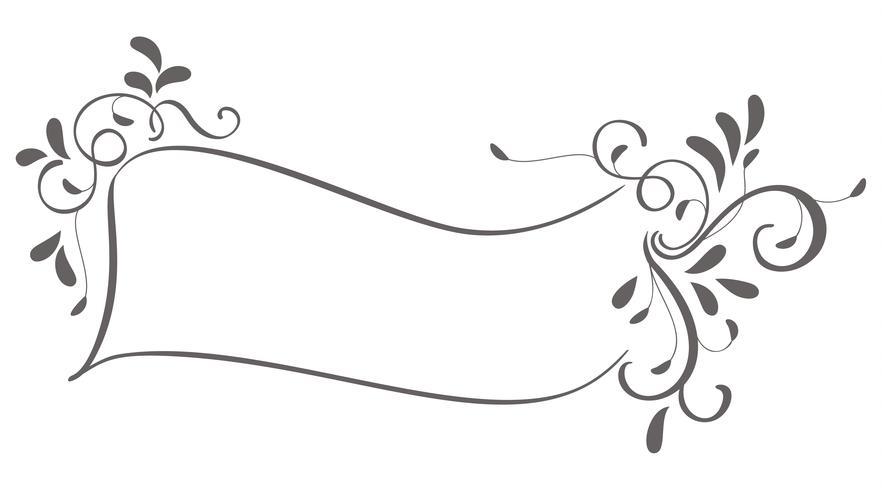 cornice astratta di foglie d'epoca isolato su sfondo. Illustrazione di calligrafia di vettore EPS10