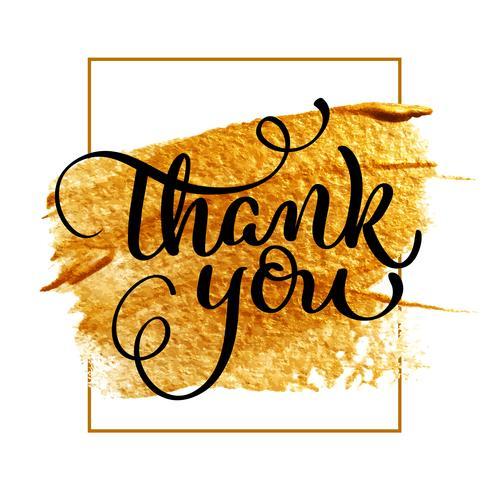 Tack dag text på akryl guld bakgrund. Handritad kalligrafi bokstäver Vektor illustration EPS10