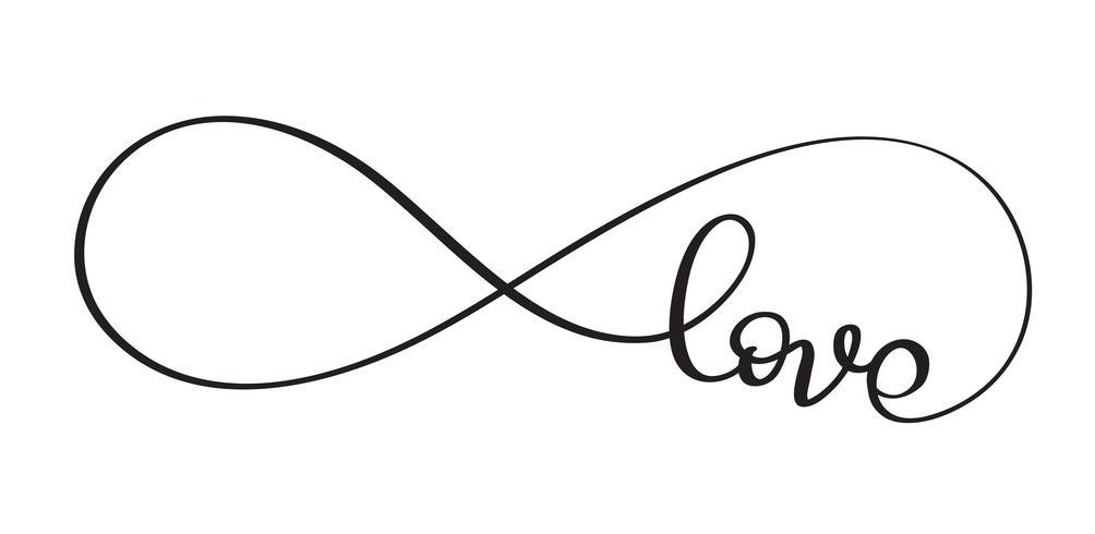Kärleksord I teckenet på oändligheten. Vektor kalligrafi och bokstäver EPS10