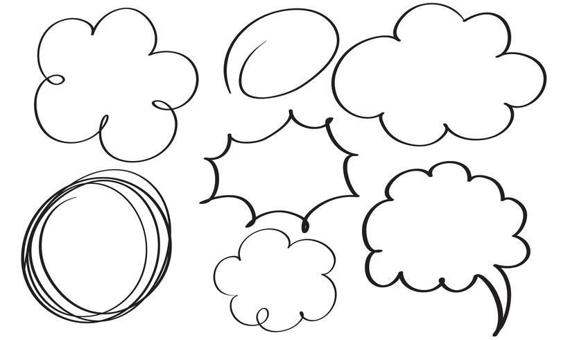 uppsättning av blom kalligrafi vintage doodle ram. Illustration vektor handritad EPS 10