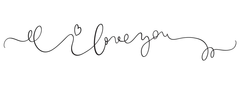 Ich liebe dich Vektorweinlesetext auf weißem Hintergrund. Kalligraphiebeschriftungsillustration EPS10