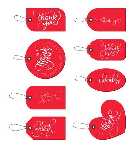 Samling uppsättning av röda pappers presentkort med text Tack. Kalligrafi bokstäver handgjord text. Vektor illustration EPS10