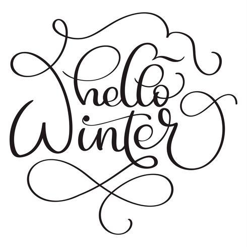 Hallo winter kalligrafie tekst op witte achtergrond. Hand getrokken belettering vectorillustratie EPS10