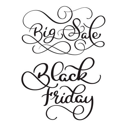 Texte de calligraphie grande vente et vendredi noir sur fond blanc. Lettrage dessiné à la main illustration vectorielle EPS10