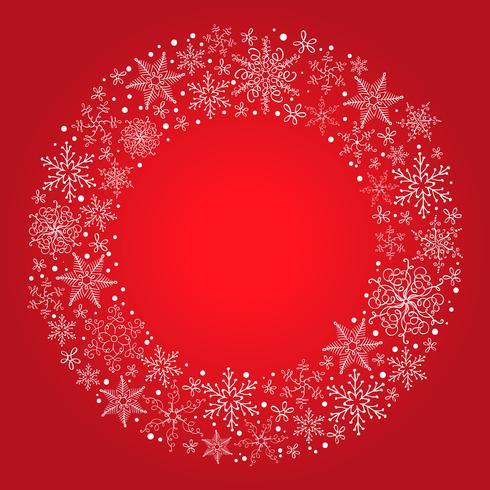 Vektor jul röd bakgrund med snöflinga krans