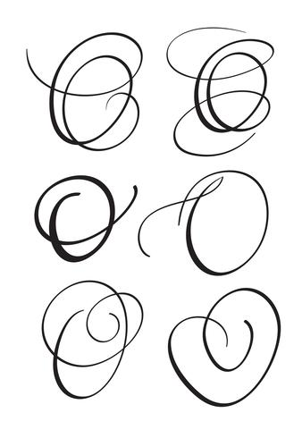 set of art calligraphy letter O with flourish of vintage decorative whorls. Vector illustration EPS10