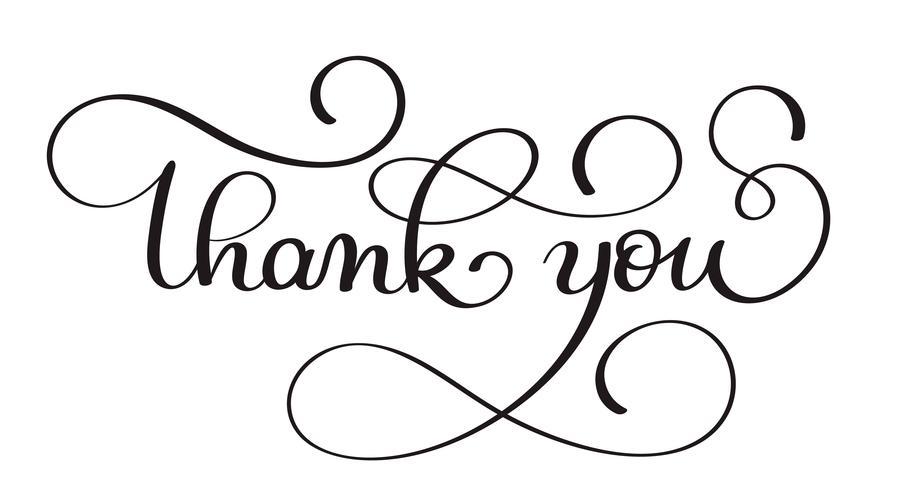 Thank you handwritten calligraphy vector text. dark brush pen lettering illustration isolated on white background