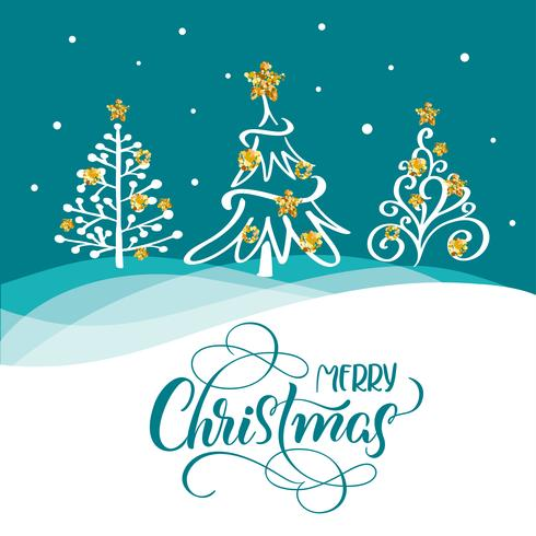 Mão desenhada letras de caligrafia texto feliz Natal em um cartão postal com três árvores de Natal e estrelas douradas