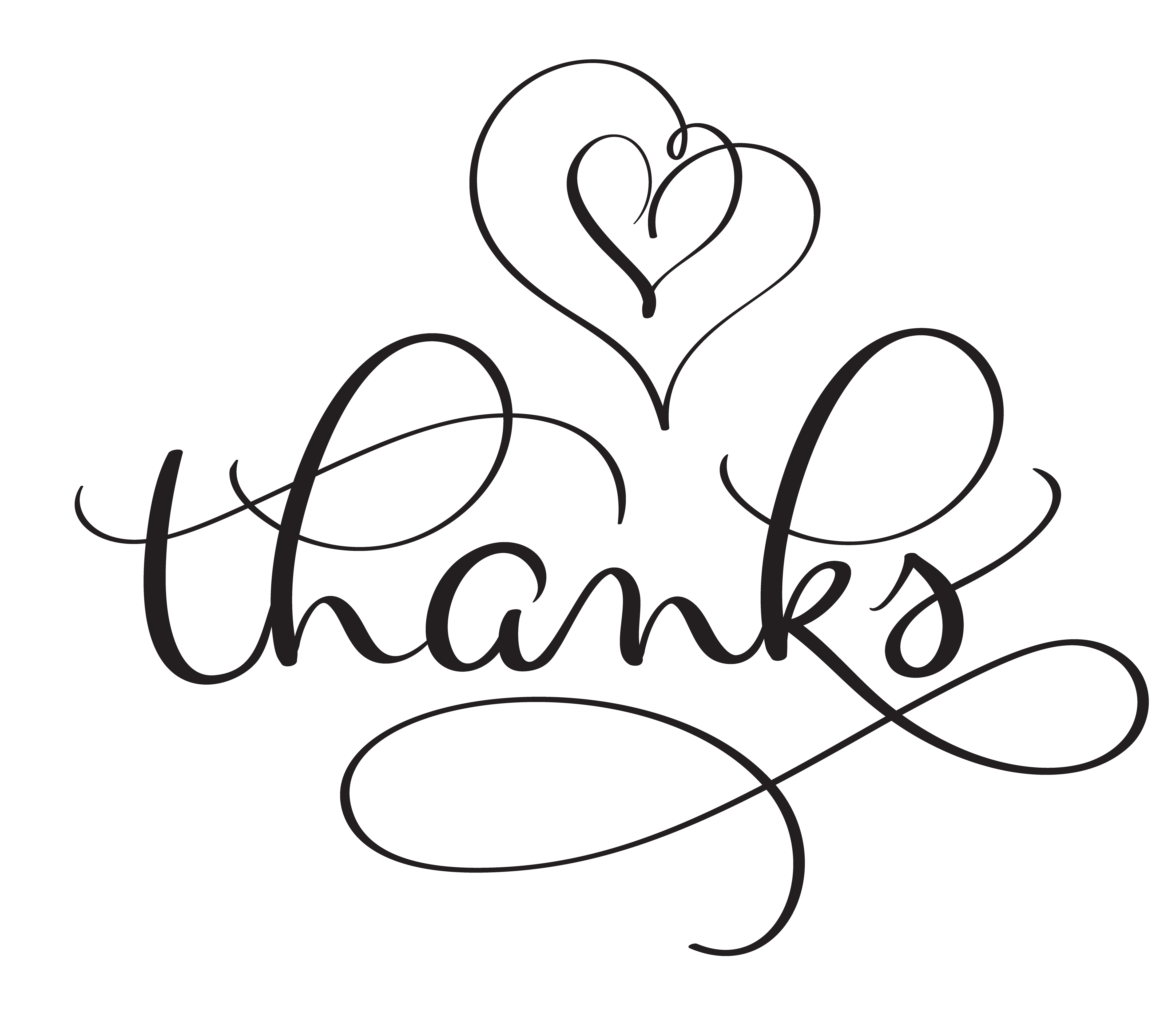 Thanks word with hearts on white background Hand drawn Calligraphy lettering Vector