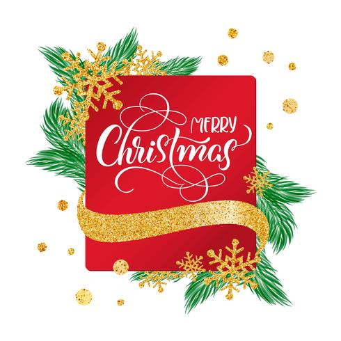 Kalligraphische frohe Weihnachten, die verzierten Text auf rotem Rahmenhintergrund mit Goldschneeflocken beschriftet. Urlaubsgefühl