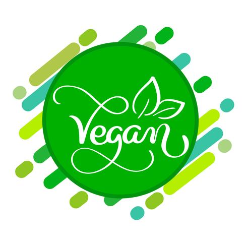 Concepto de logo vegano. Signo de vector Letras manuscritas para restaurante cafe.