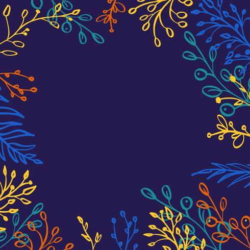 Pflanzliche Mischung quadratischen Vektor Rahmen. Handgemalte Pflanzen, Zweige, Blätter, Succulents und Blumen auf dunkelblauem Hintergrund. Natürliches Kartendesign