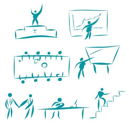 Uppsättning affärsmän karaktärer. Samling av kontor arbetssituationer. Illustrationer för affärsidéer, webb, ikoner, infographics, logotypdesign. Isolerad på vit bakgrund