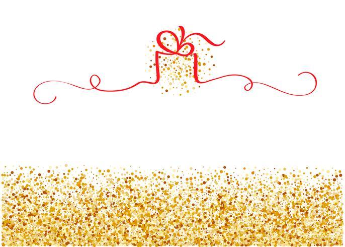 stiliserad gyllene bakgrund med rött band i form av gåva med plats för text. Vektor helgdag illustration EPS10