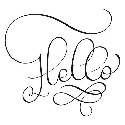 Bonjour mot sur fond blanc. Lettrage de calligraphie dessiné à la main illustration vectorielle EPS10