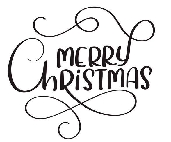 Buon Natale calligrafia testo su sfondo bianco. Illustrazione disegnata a mano di vettore dell'iscrizione EPS10