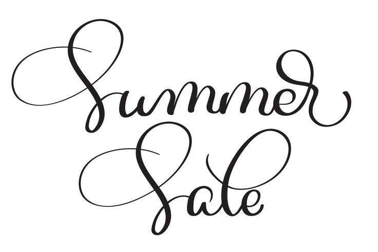 Sommerschlussverkaufvektor-Weinlesetext auf weißem Hintergrund. Kalligraphiebeschriftungsillustration EPS10