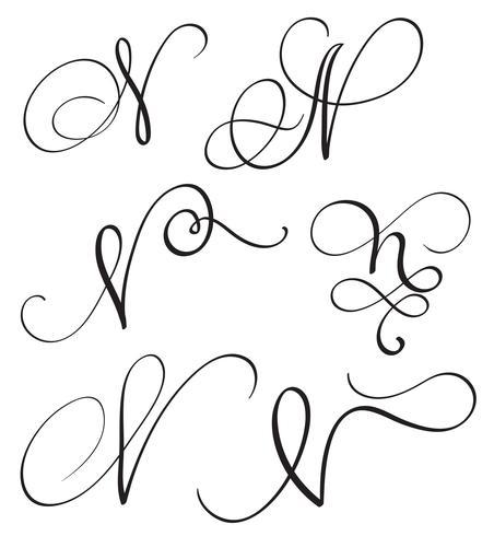 set van kunst kalligrafie letter N met bloeien van vintage decoratieve slierten. Vector illustratie EPS10