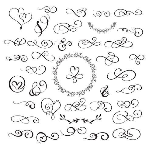 uppsättning blomningar kalligrafi vintage hjärtan och whorls. Illustration vektor handritad EPS 10