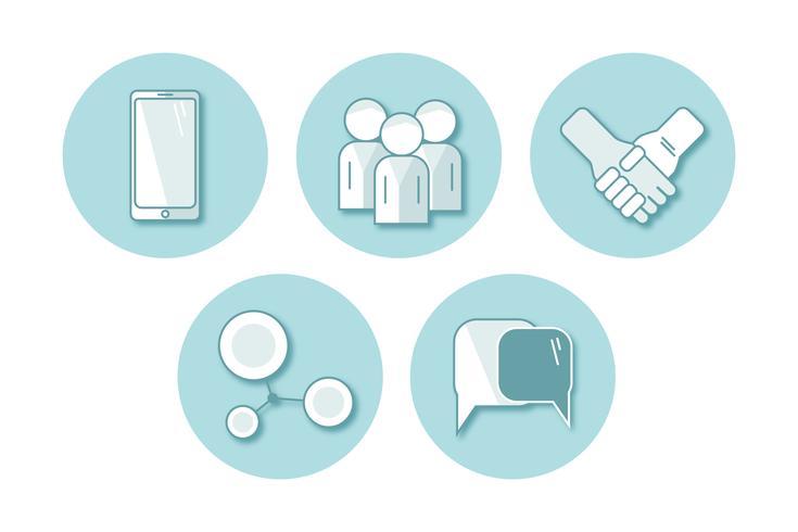 uppsättning vektor platt ikon kommunikation. illustration EPS10