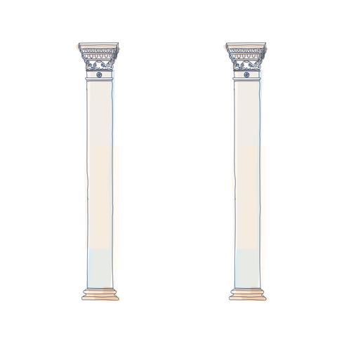 Stylized Greek doodle column Doric Ionic Corinthian columns. Vector illustration. Classical architectural support
