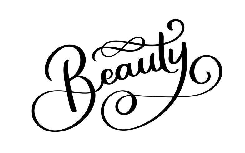 Beauty Typography Square Poster. Lettering vettoriale. Frase di calligrafia per carte regalo, scrapbooking, blog di bellezza. Arte tipografica vettore