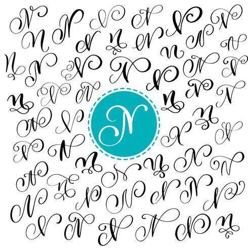 Sats med handritad vektor kalligrafi brev N. Skript typsnitt. Isolerade bokstäver skrivna med bläck. Handskriven penselstil. Handbokstäver för logotypemballage