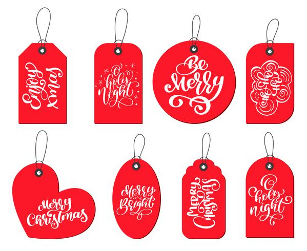 Etiketten Frohe Weihnachten.Vektor Rote Etiketten Tags Sammlung Mit Kalligraphie Schriftzug