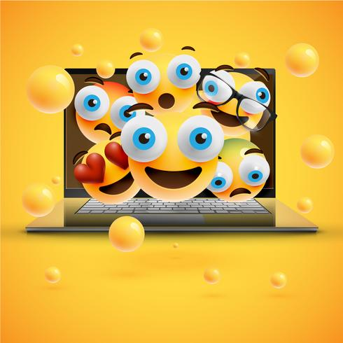 Realistic yellow emoticons in front of a notebook, vector illustration