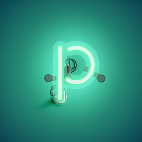 Personnage néon réaliste vert avec fils et console à partir d'un jeu de polices, illustration vectorielle