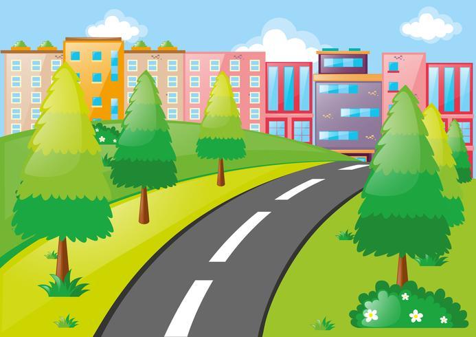 Stadsplats med byggnader och väg