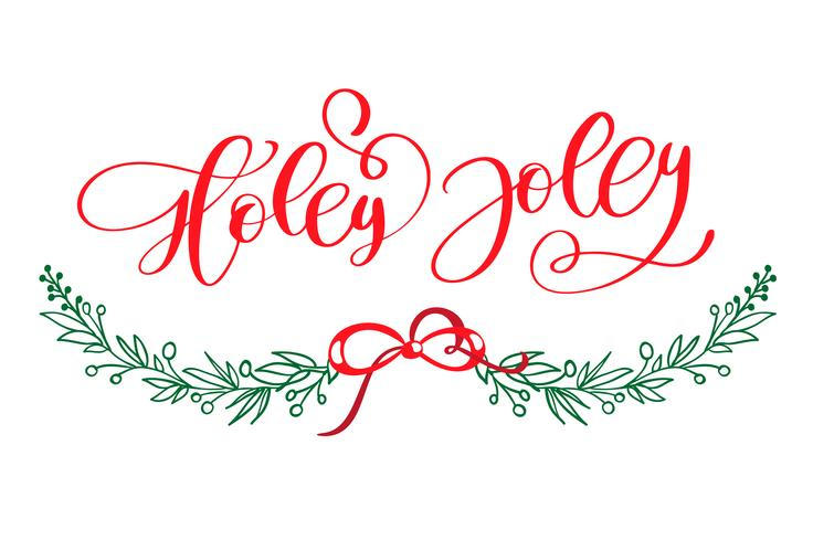 Holly Jolly is unique handdrawn typography poster. Vector calligraphy art. Perfect design for posters, flyers and banners. Xmas design