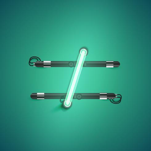 Hög detaljerad neon karaktär från en uppsättning, vektor illustration