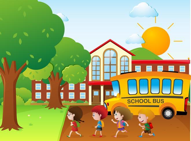 Les enfants vont à l'école en bus scolaire