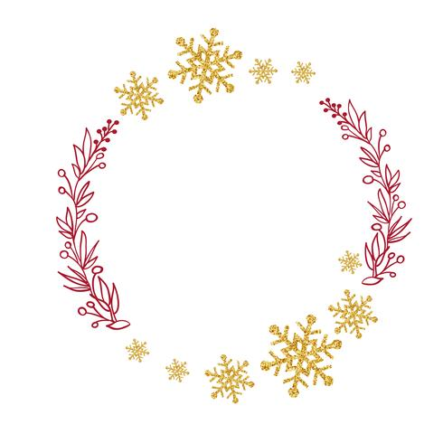 couronne rouge avec des branches d'arbres et des flocons de neige dorés. Illustration vectorielle