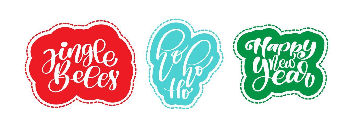 Kerst tekst Jingle Bells, hohoho, happy new year sticker handgeschreven kalligrafie letters op de sticker. handgemaakte vectorillustratie. Leuke penseelinkt typografie voor foto-overlays, t-shirt print, flyer, posterontwerp