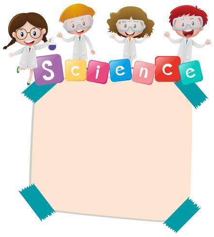 Pappersmall med barn och vetenskap