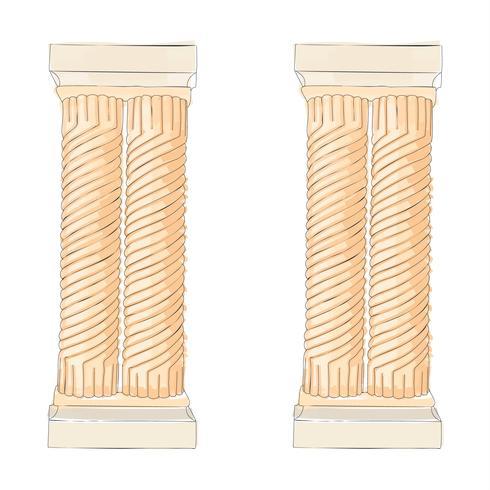 Garabato griego columnas dónicas corintias jónicas dónicas. Ilustración vectorial de arquitectura clásica.