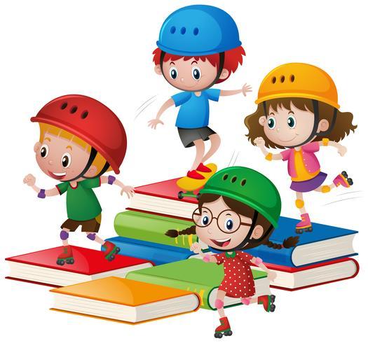 Barn rullskridskoåkning på stora böcker