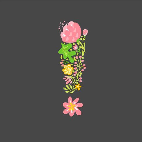 Bloemen zomer uitroepteken. Bloem Hoofdstad bruiloft alfabet. Kleurrijke lettertype met bloemen en bladeren. Vector illustratie folk stijl