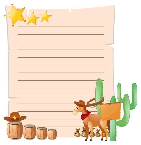 Plantilla de papel con caballo en la ciudad occidental