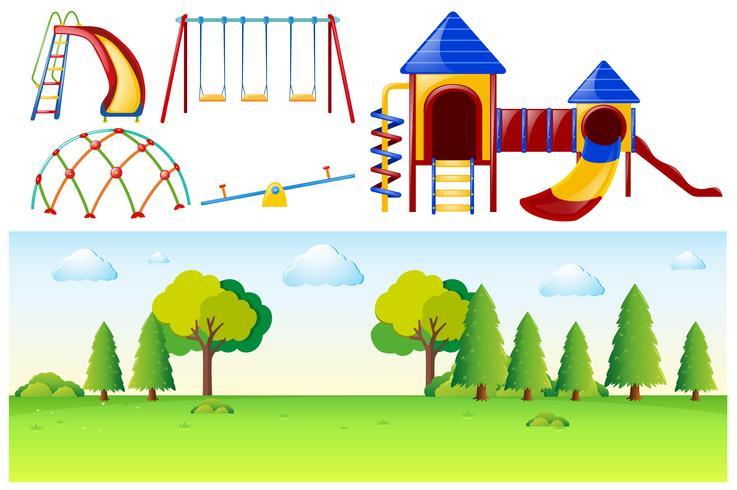 Escena del parque con muchas estaciones de juego.