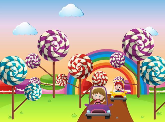 Kinder, die Auto im Wunderland fahren