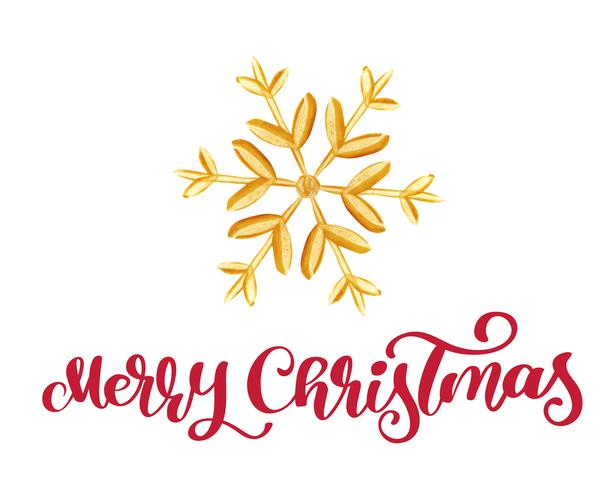 Merry Christmas red Calligraphy Lettering text and gold snowflake. Vector illustration