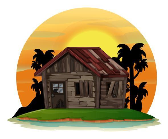 Scena di sfondo con la vecchia casa di legno sull'isola