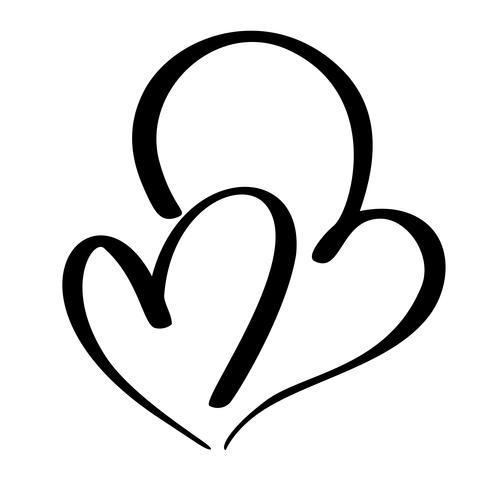 Twee geliefden hart. Handgemaakte vector kalligrafie. Decor voor wenskaart, mok, foto overlays, t-shirt print, flyer, posterontwerp