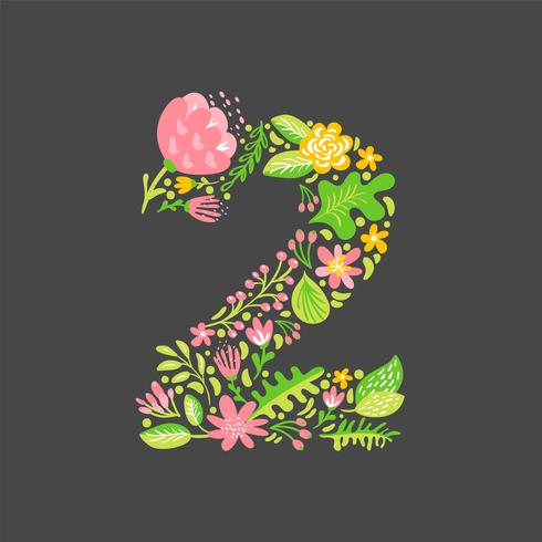 Floral summer Number 2 two. Flower Capital wedding Alphabet. Colorful font with flowers and leaves. Vector illustration scandinavian style